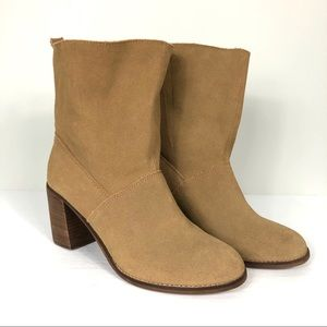 New TOMS Mila Suede Slouchy Booties Camel Size 10